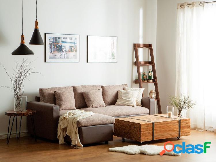 Sofá de canto bege - tecido - divã direito - com arrumação - tampere