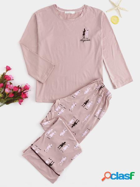 Pijama de gola redonda rosa lindo