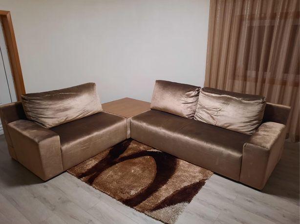 Conjunto de sofas pele de pessego