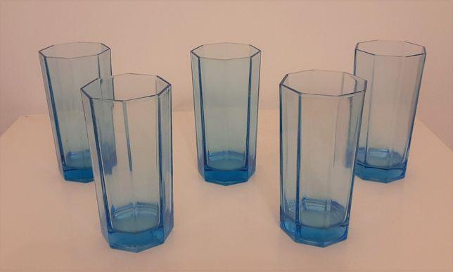 Conjunto de 5 copos altos octogonais azuis