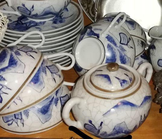 Serviço de chá de macau em tons de azul