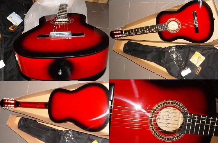 Guitarra clássica para crianças 3/4 vermelha e kit