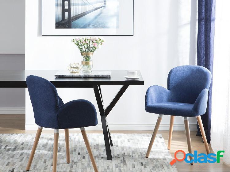 Conjunto de 2 cadeiras de jantar azul marinho - Cadeiras de refeição estofadas - BROOKVILLE