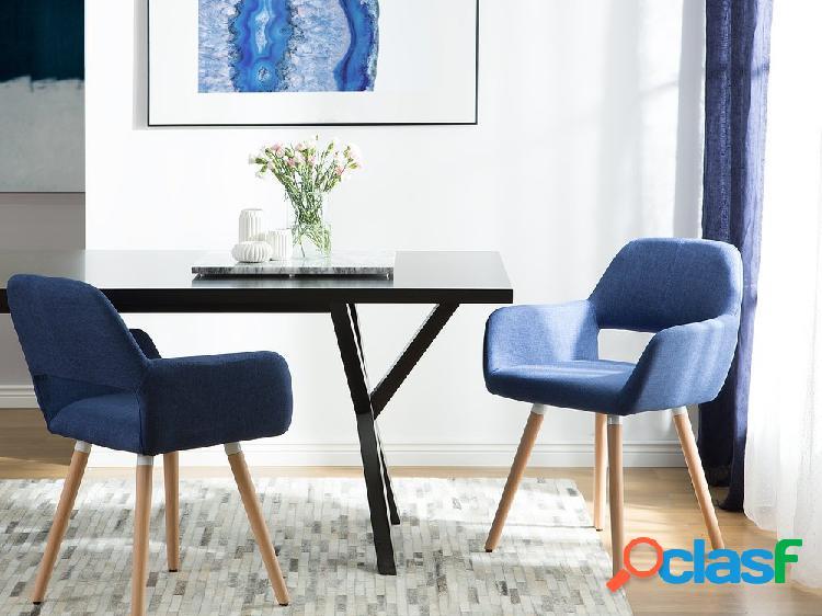 Conjunto de 2 cadeiras de jantar azul marinho - cadeira de refeição - estofada - chicago