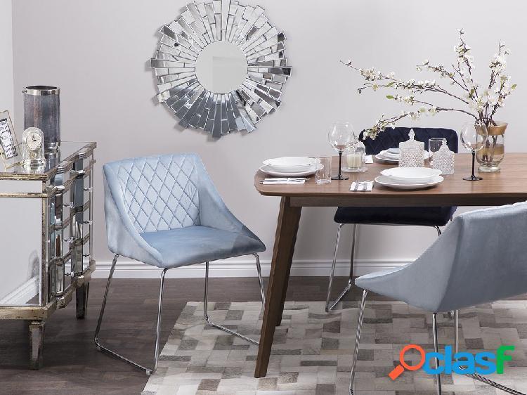 Conjunto de 2 cadeiras de veludo azul claro arcata