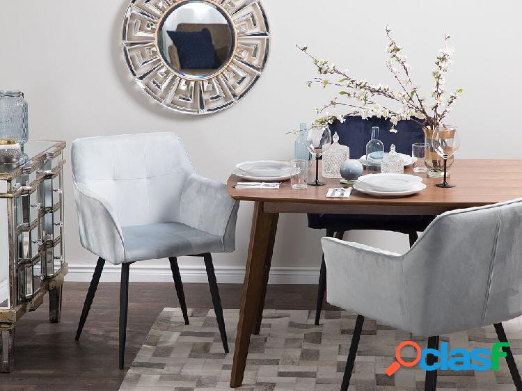 Conjunto de 2 cadeiras de veludo cinza claro jasmin