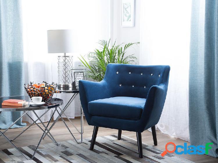 Poltrona - veludo azul marinho - drammen