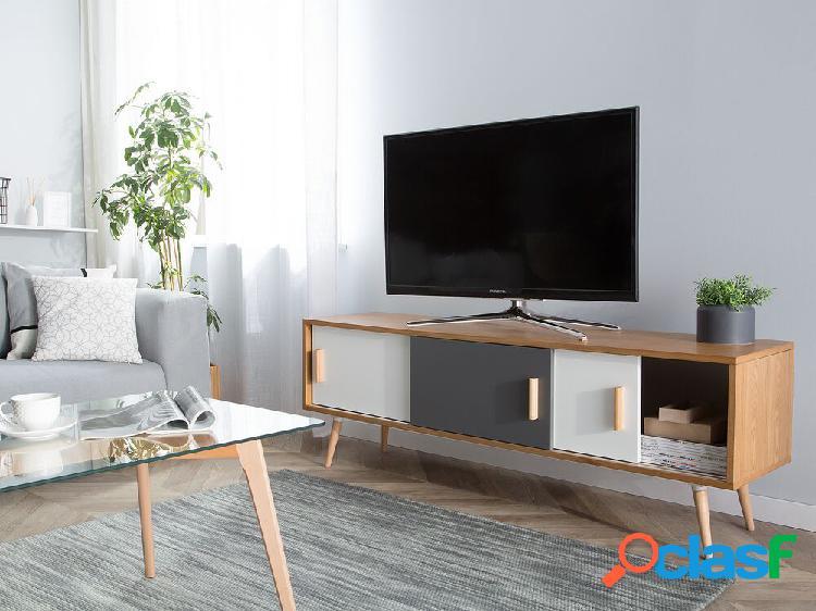 Mesa de tv marrom e branca indiana