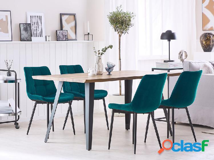 Conjunto de 2 cadeiras de jantar em veludo azul MELROSE