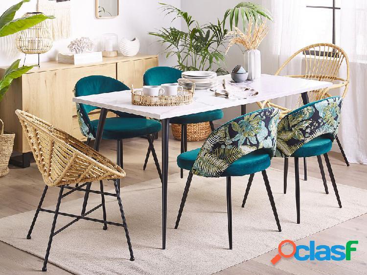 Conjunto de 2 cadeiras de veludo azul vivian