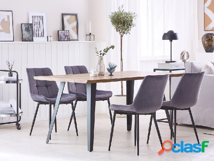 Conjunto de 2 cadeiras de jantar em veludo cinza MELROSE