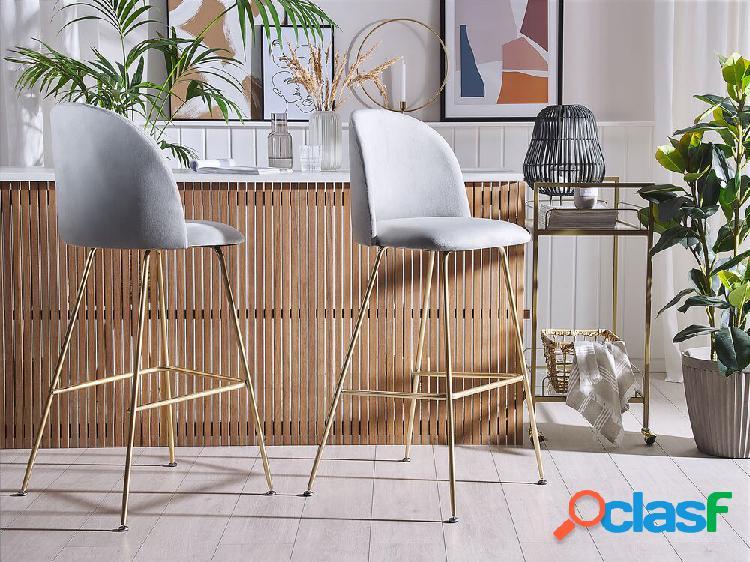 Conjunto de 2 cadeiras de veludo cinza arcola