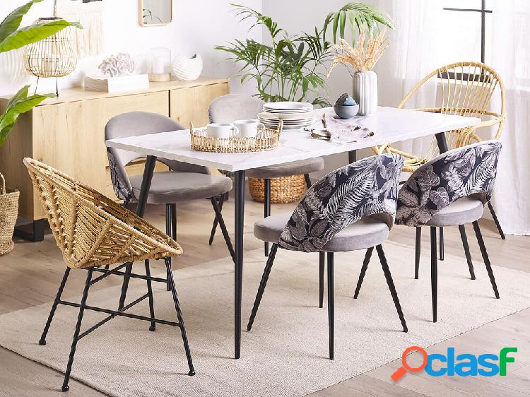 Conjunto de 2 cadeiras de veludo cinza vivian