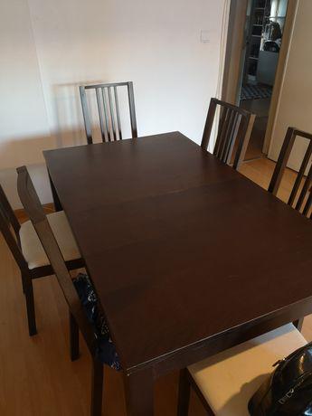 Mesa extensível ikea bjursta+ 6 cadeiras