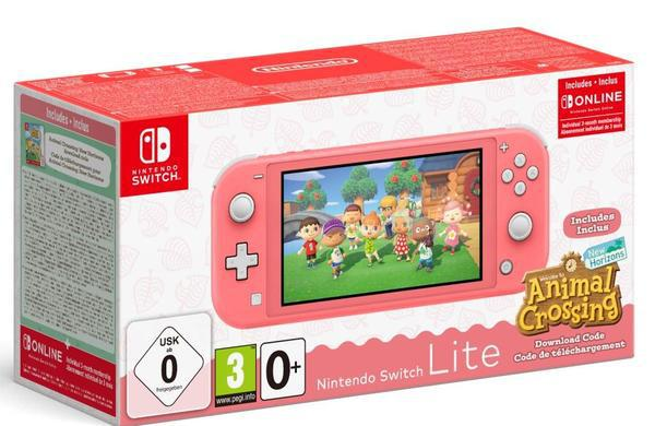 Consola nintendo switch lite coral + animal crossing