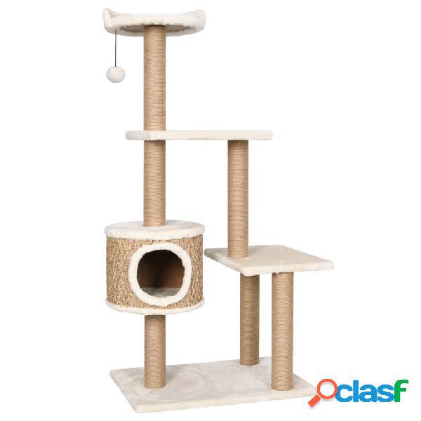 Vidaxl árvore para gatos c/ postes arranhadores 123 cm erva marinha