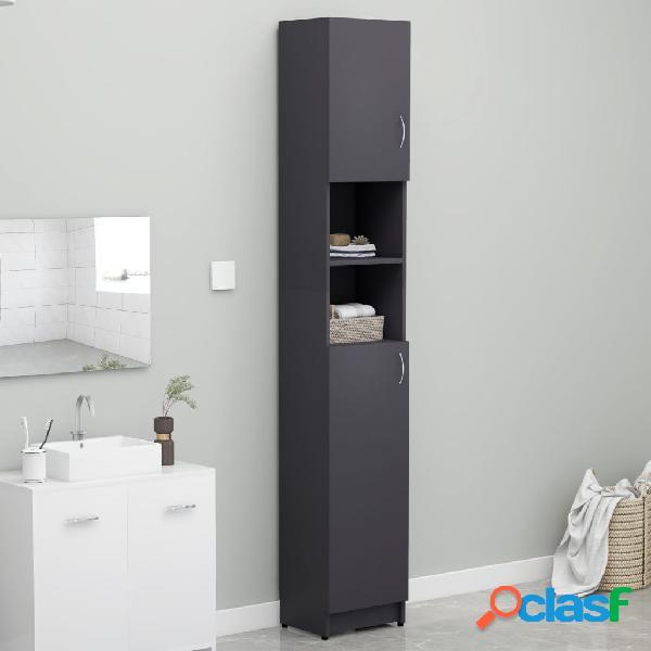 Vidaxl armário de casa de banho 32x25,5x190 cm contraplacado cinza