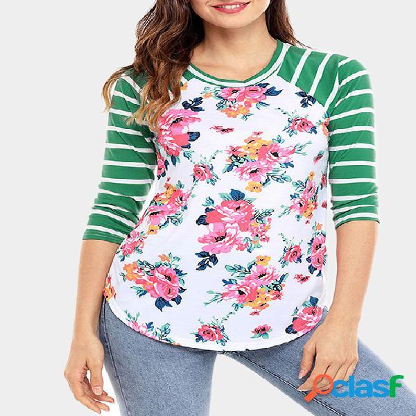 Verde Random Floral Print Round Neck Stripe T-shirt