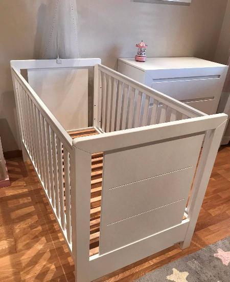 Berço-cama + colchão trama inova branco mate