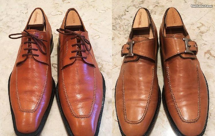 Sapatos tamanho 43 cor de mel usados em bom estado