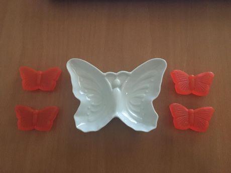 Conjunto avon de saboneteira e sabonetes borboleta- novo