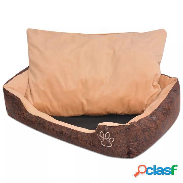 Vidaxl cama p/ cães c/ almofada couro artificial pu tamanho s castanho