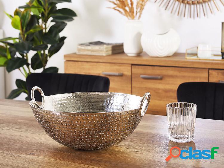 Taça decorativa em alumínio prata shibah