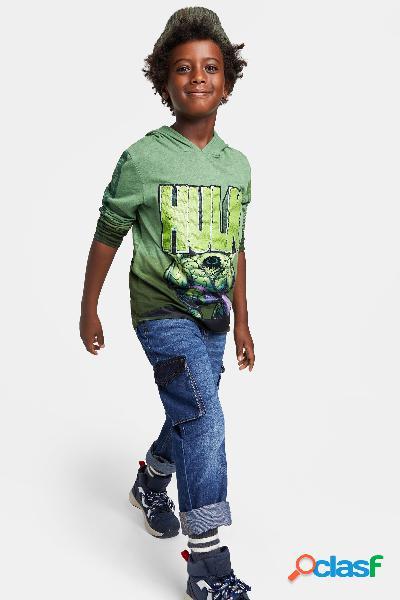 T-shirt hulk com lantejoulas reversíveis - green - 13/14