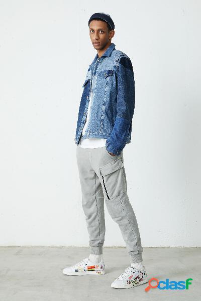 Casaco com patchwork em ganga upcycling - blue - l