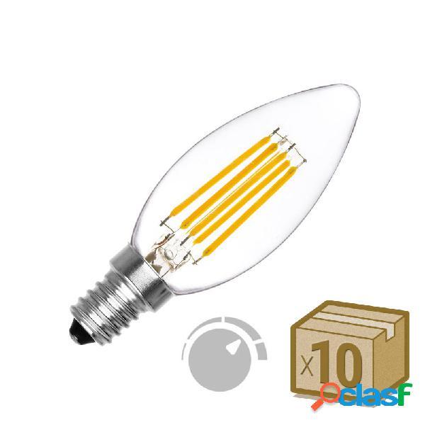 Pack 10 x lâmpada filamento led vela e14 cob 6w regulavél branco quente 2700k. loja online ledbox. lâmpadas led > lâmpada led e14