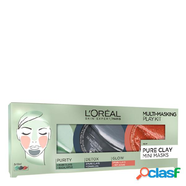 L'oréal multi-masking play kit pack máscaras de argila pura 10+10+10ml
