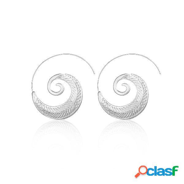 Brincos de forma de folha de espiral de prata