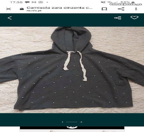 Camisola cinzenta da zara com pérolas chique