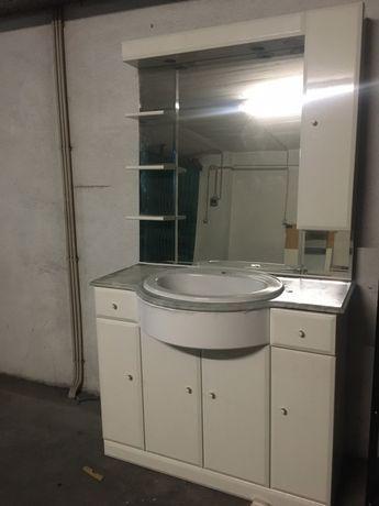 Móvel wc branco + pedra mármore + lavatório + espelho com