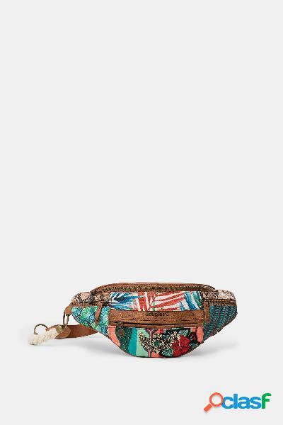 Bolsa de cintura patchwork floral - red - u