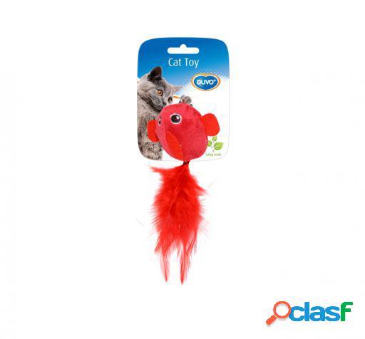 Brinquedo gato pássaro com penas 2 uni 13 x 10 x 3,5 cm duvo+