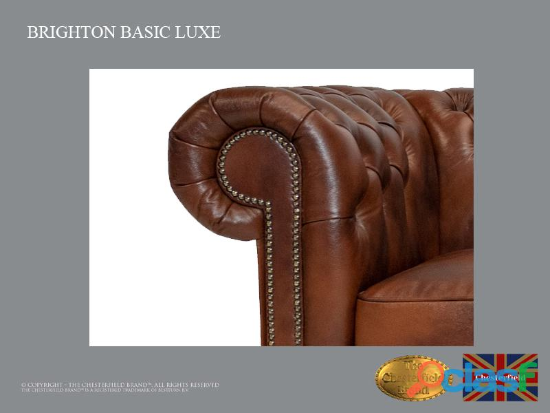 Poltrona Chesterfield Brighton Basic Luxe, Couro, Marrom Antigo 1