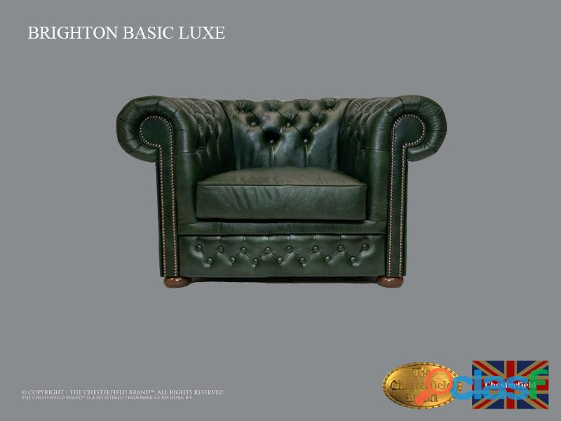 Poltrona Chesterfield Brighton Basic Luxe, Couro, Verde Escuro