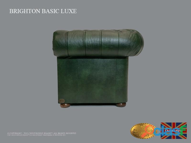 Poltrona Chesterfield Brighton Basic Luxe, Couro, Verde Escuro 1