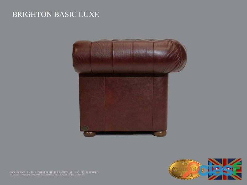 Poltrona Chesterfield Brighton Basic Luxe, Couro, Vermelho Escuro 1