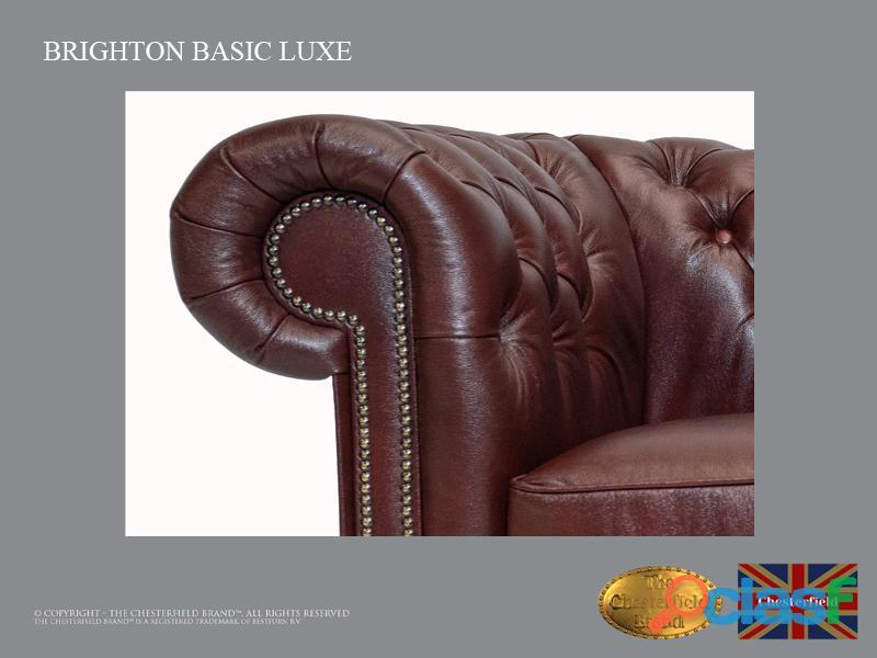 Poltrona Chesterfield Brighton Basic Luxe, Couro, Vermelho Escuro 2