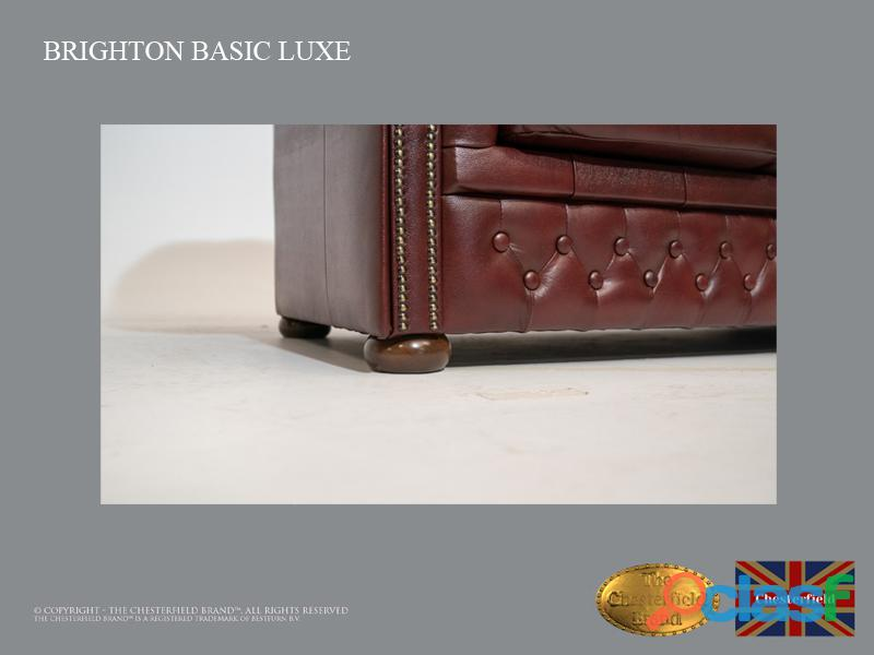 Poltrona Chesterfield Brighton Basic Luxe, Couro, Vermelho Escuro 3