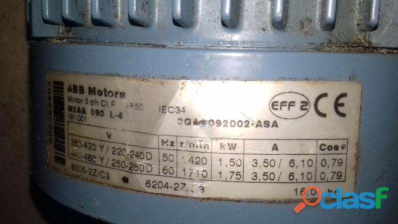 Motor ABB trifásico 380 2cv 2cb 1500 rpm