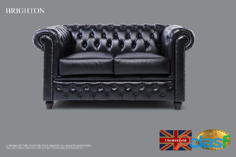Sofá black chester brighton classic, 2 assentos, couro