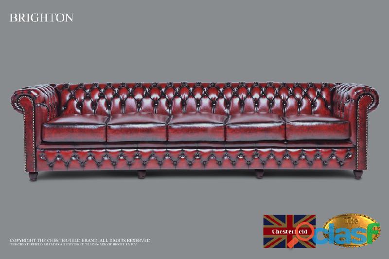 Sofá chester de 5 assentos, couro, vermelho antigo