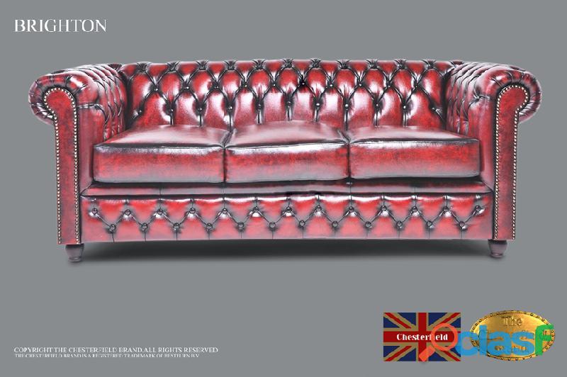 Sofá chesterfield brand de 3 lugares, vermelho antigo, couro
