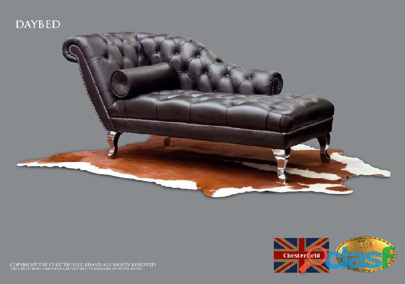 Sofa divan chester, couro, preto, marca chesterfield