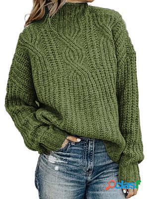 High collar plain long sleeve knit pullover