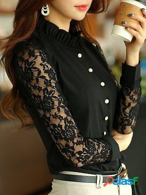 High neck beading decorative lace plain blouses