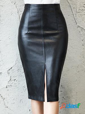 High waist slim pu leather skirt